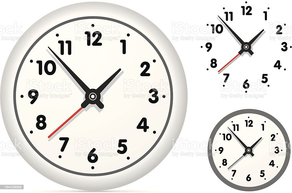 Clock on the white wall royalty-free stock photo