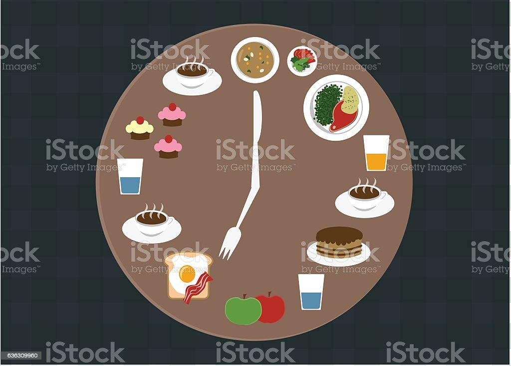 Clock plate with food on it infographic vector art illustration