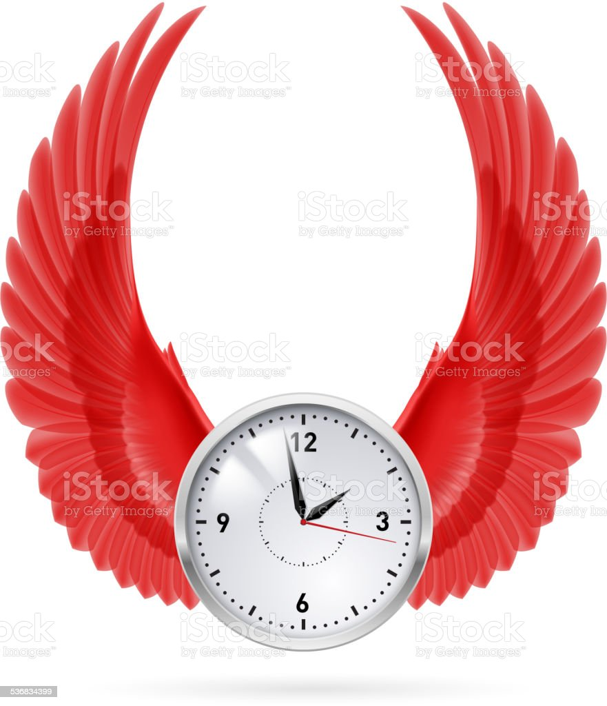 Clock. Red wings. vector art illustration