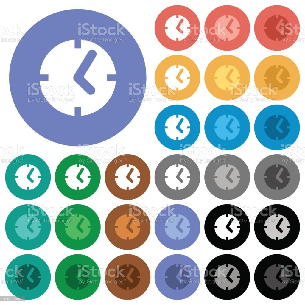 Clock round flat multi colored icons vector art illustration