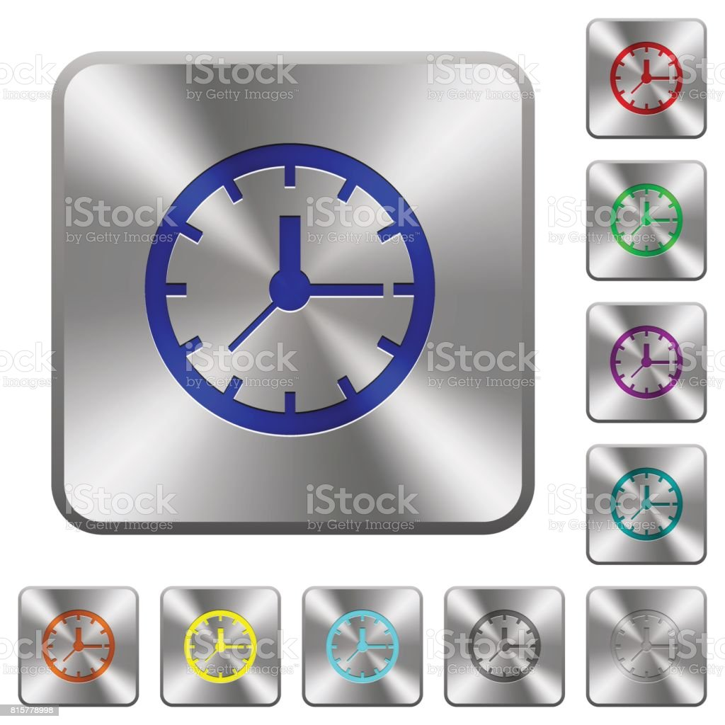 Clock rounded square steel buttons vector art illustration