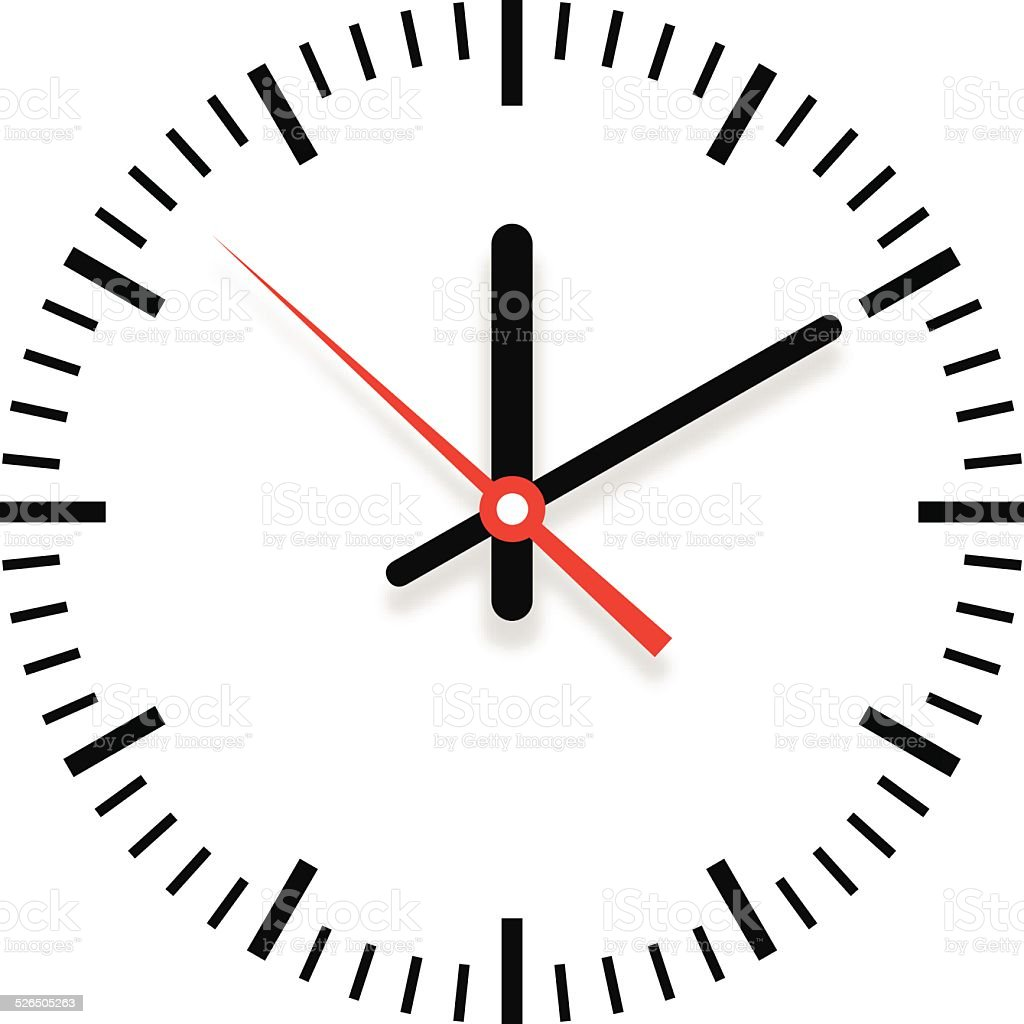Clock showing time with shadow - VECTOR vector art illustration
