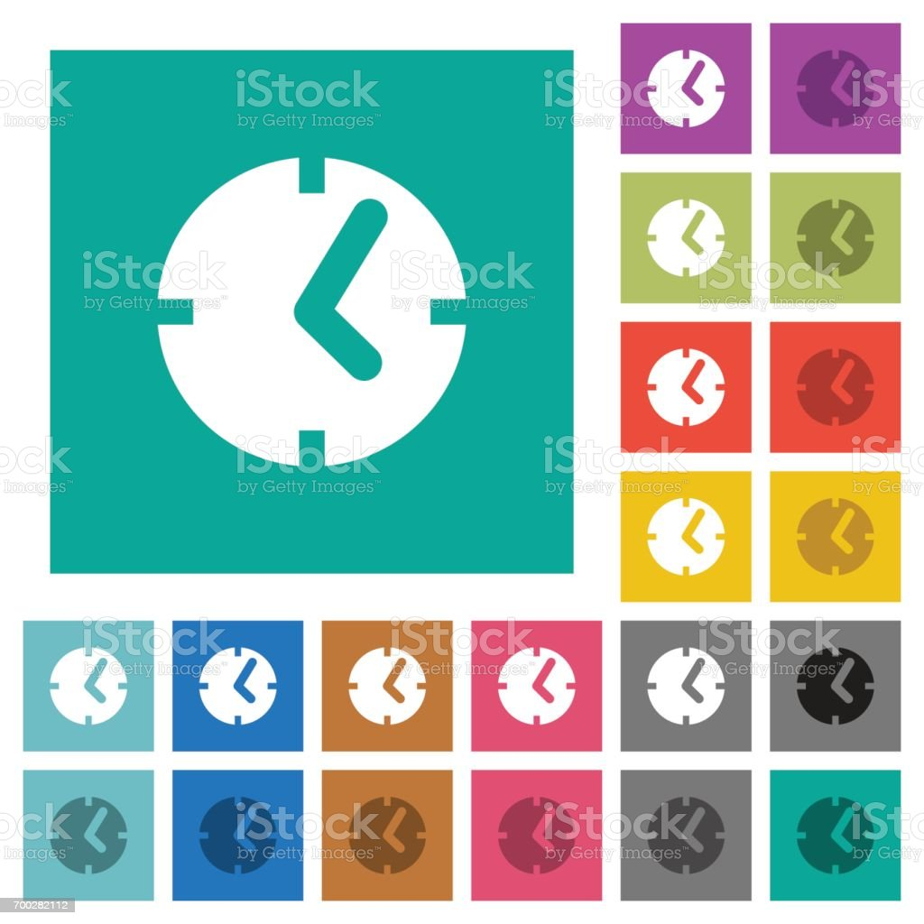 Clock square flat multi colored icons vector art illustration