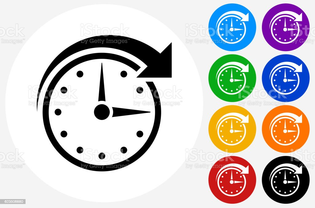 Clock Time Icon on Flat Color Circle Buttons vector art illustration