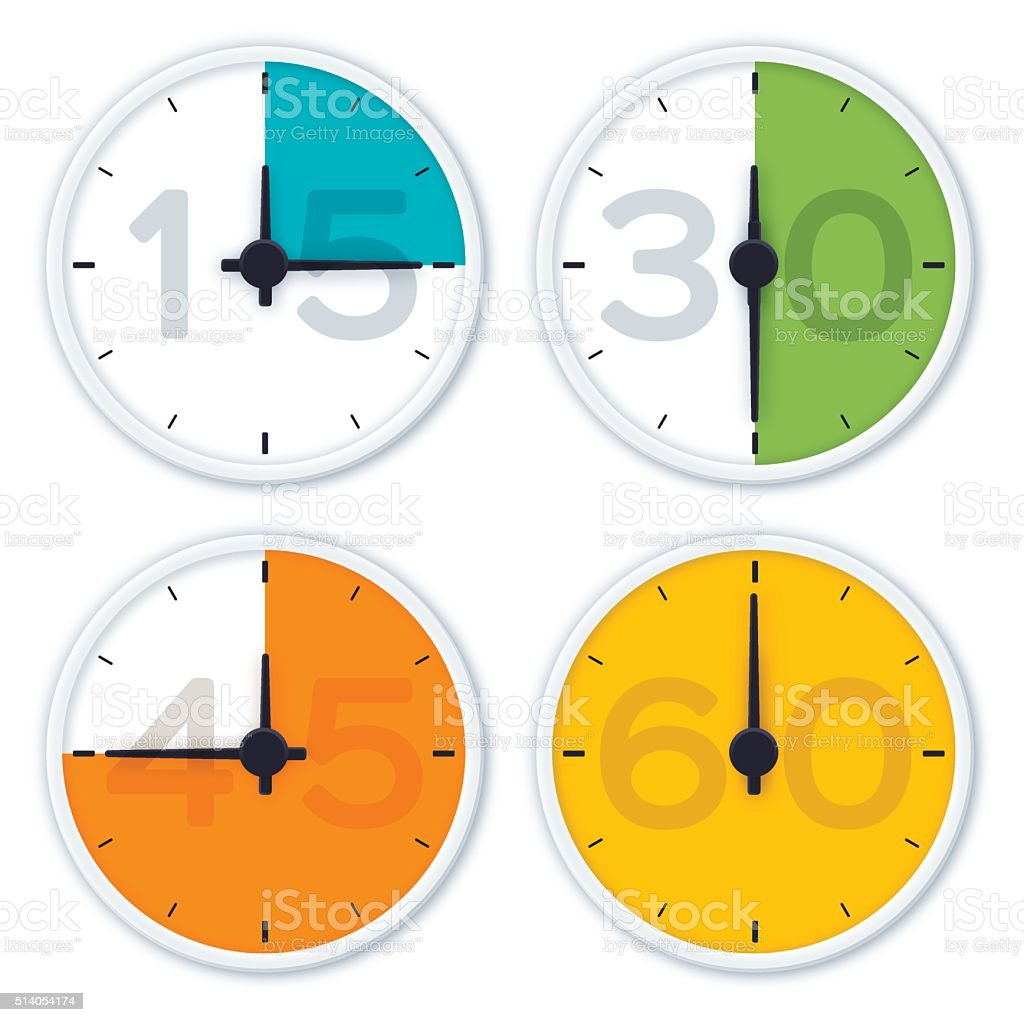 Clock Time Symbols vector art illustration