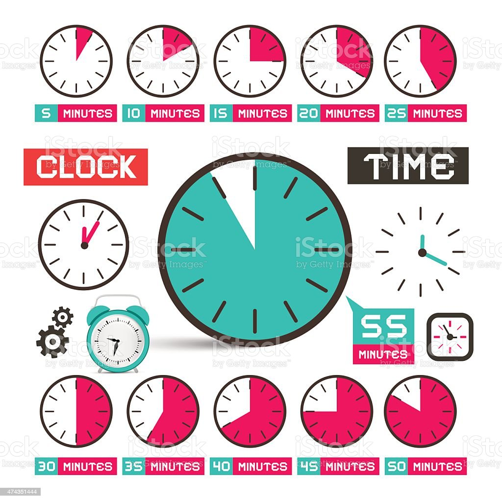 Clock - Time Vector Icons Set vector art illustration