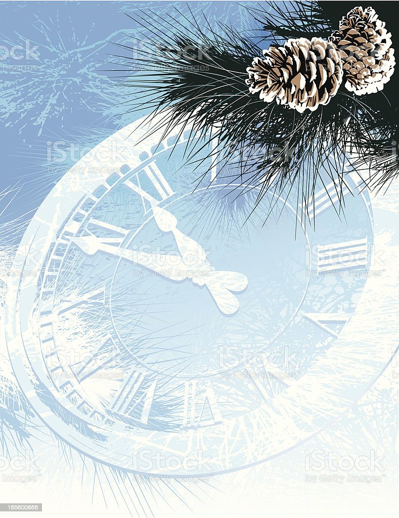 Clock Winter and Pine vector art illustration