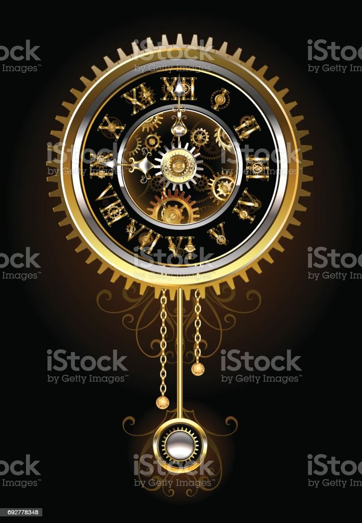 Clock with pendulum vector art illustration
