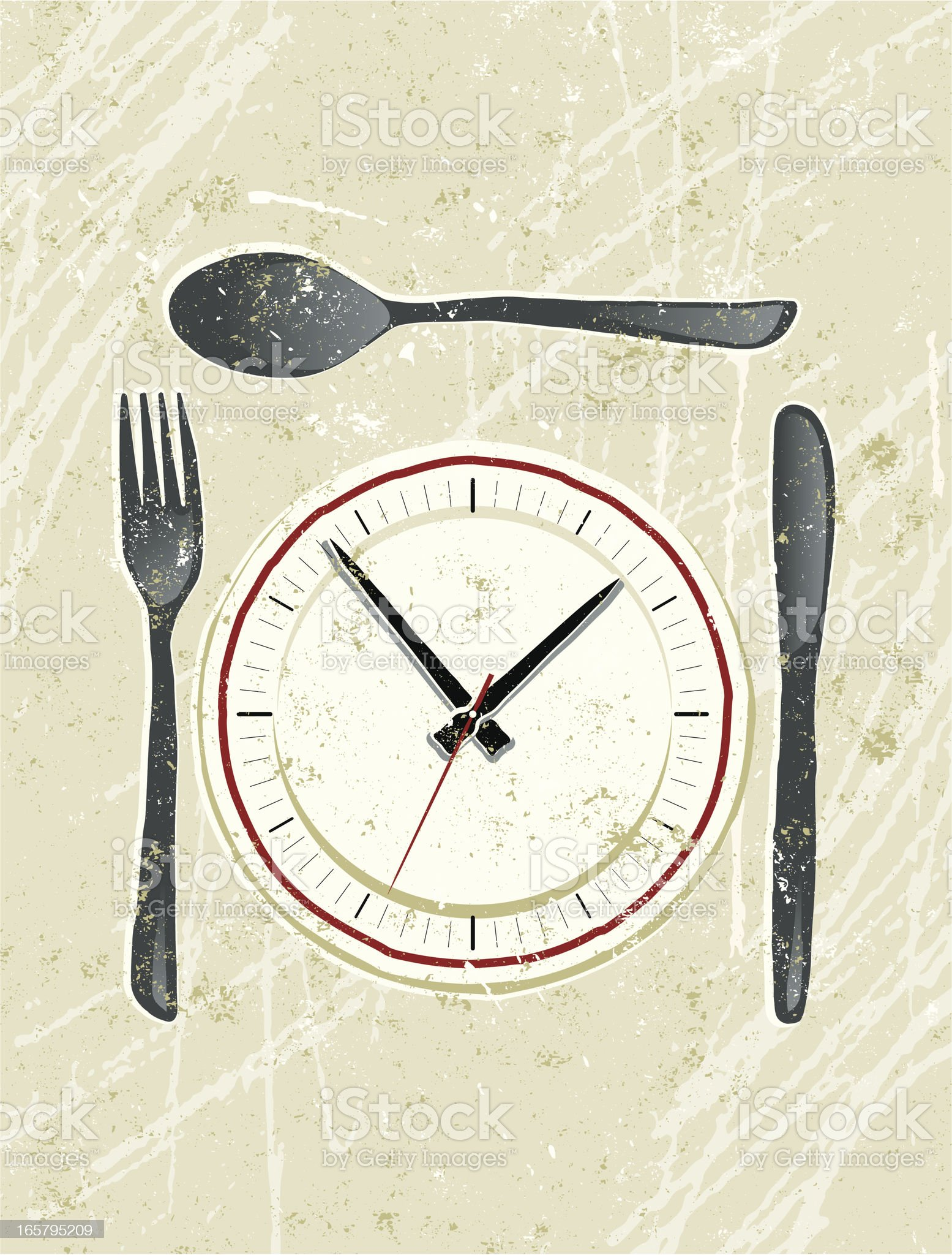 Clockface on a plate with Knife and Fork royalty-free stock vector art