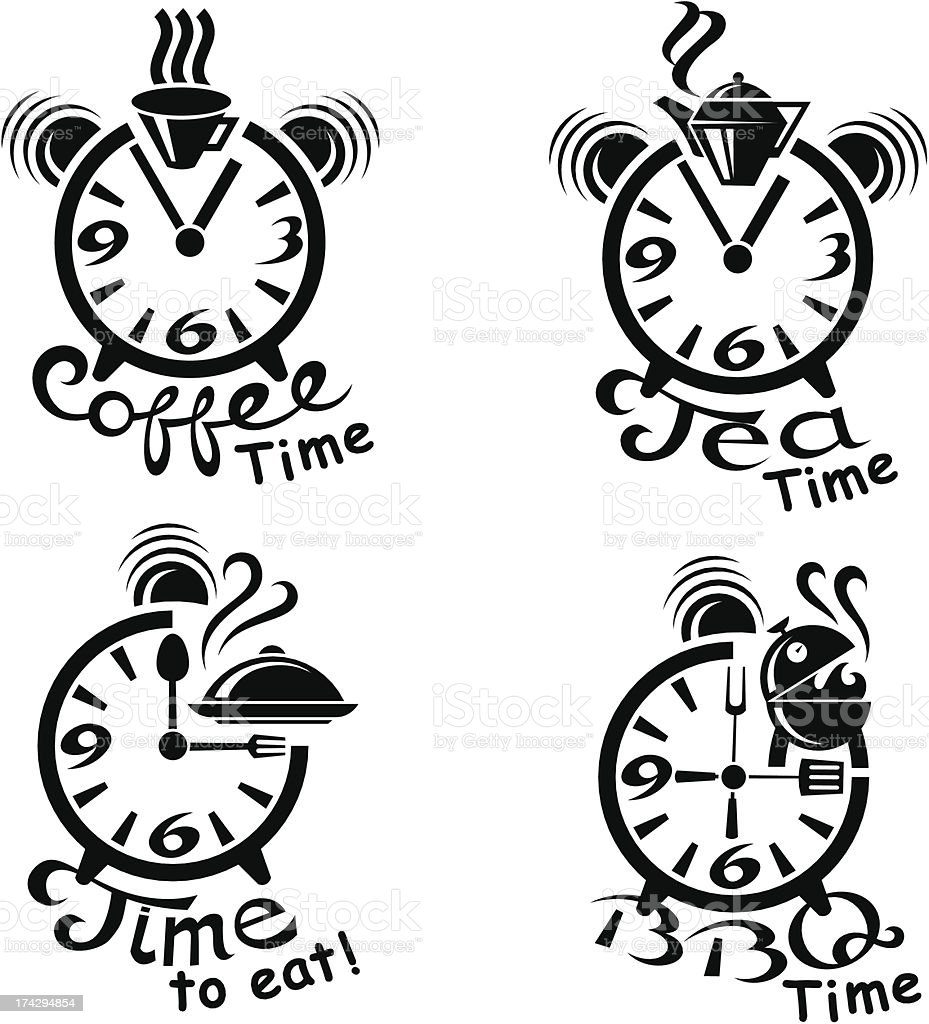 clocks and different food, drinks royalty-free stock vector art