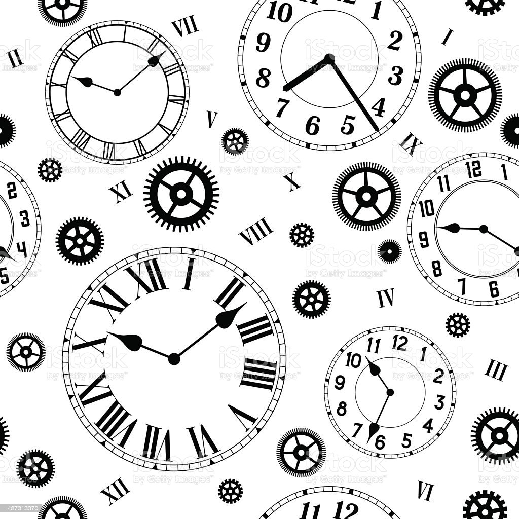 Clocks and gears vector seamless pattern. vector art illustration
