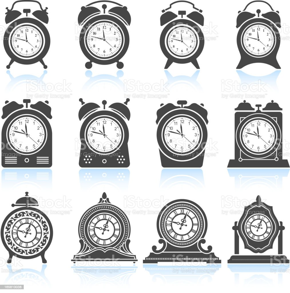 Clocks black & white royalty free vector icon set vector art illustration