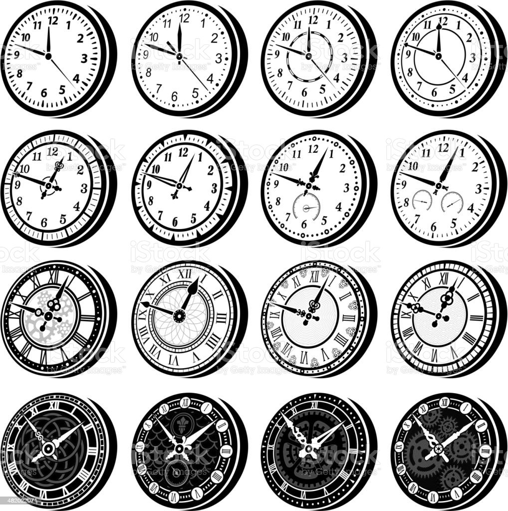 Clocks black & white royalty free vector icon set royalty-free stock vector art