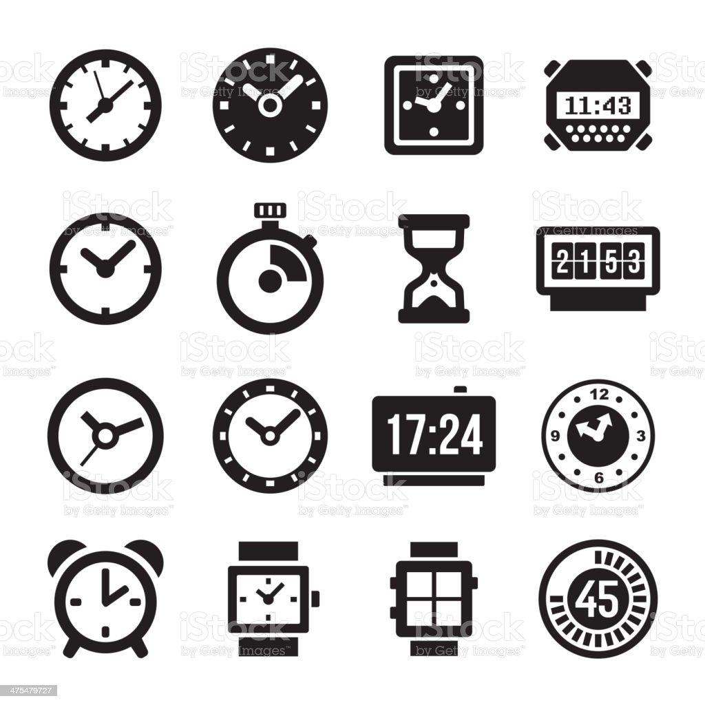 Clocks Icons Set on White Background royalty-free stock vector art