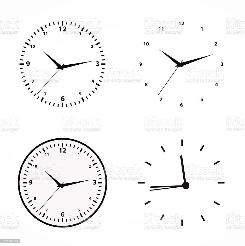 Clocks set vector art illustration