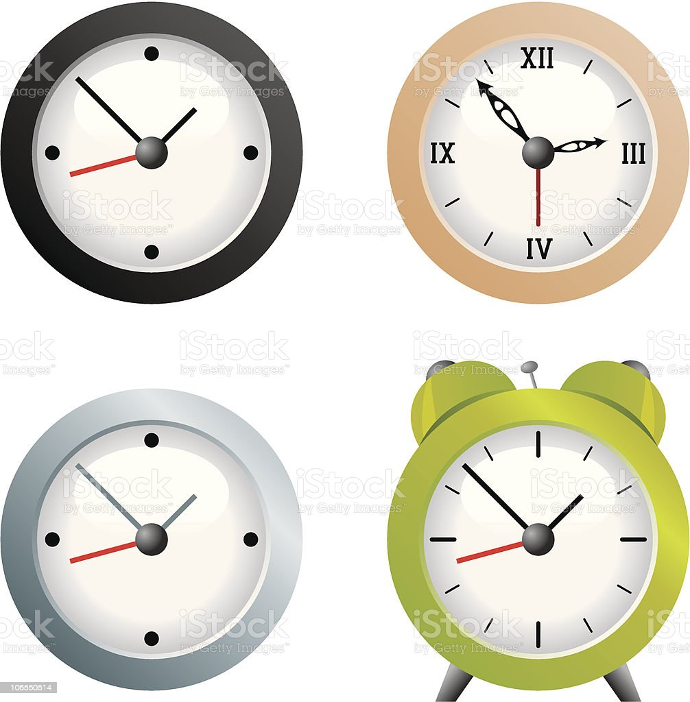 Clocks vector art illustration
