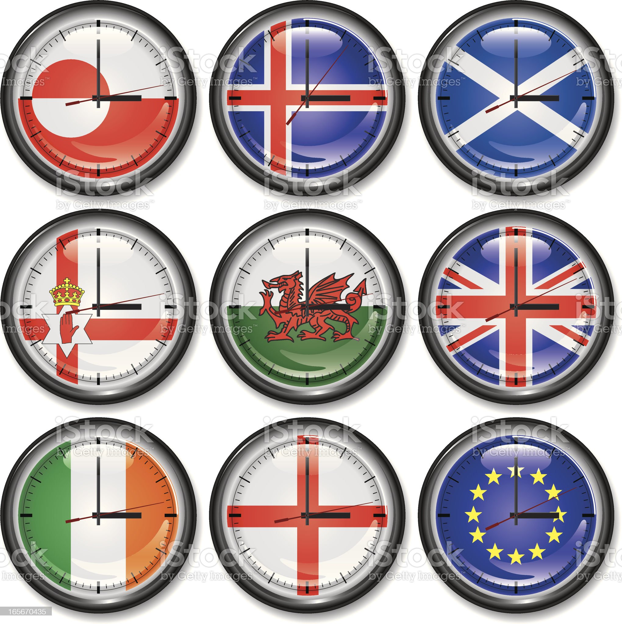 Clocks-West and Northern Europe royalty-free stock vector art