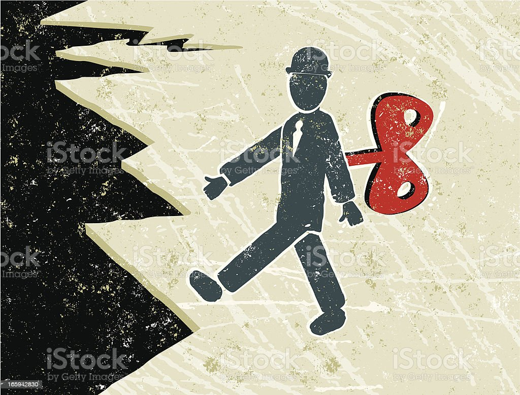 Clockwork Business Man Walking Towards a Cliff Edge royalty-free stock vector art
