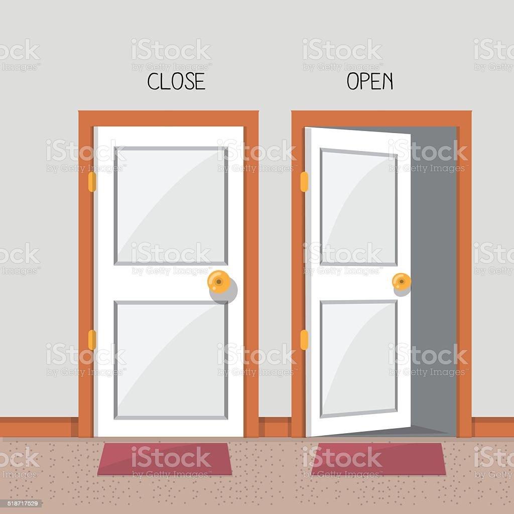 close and open door - vector illustration vector art illustration