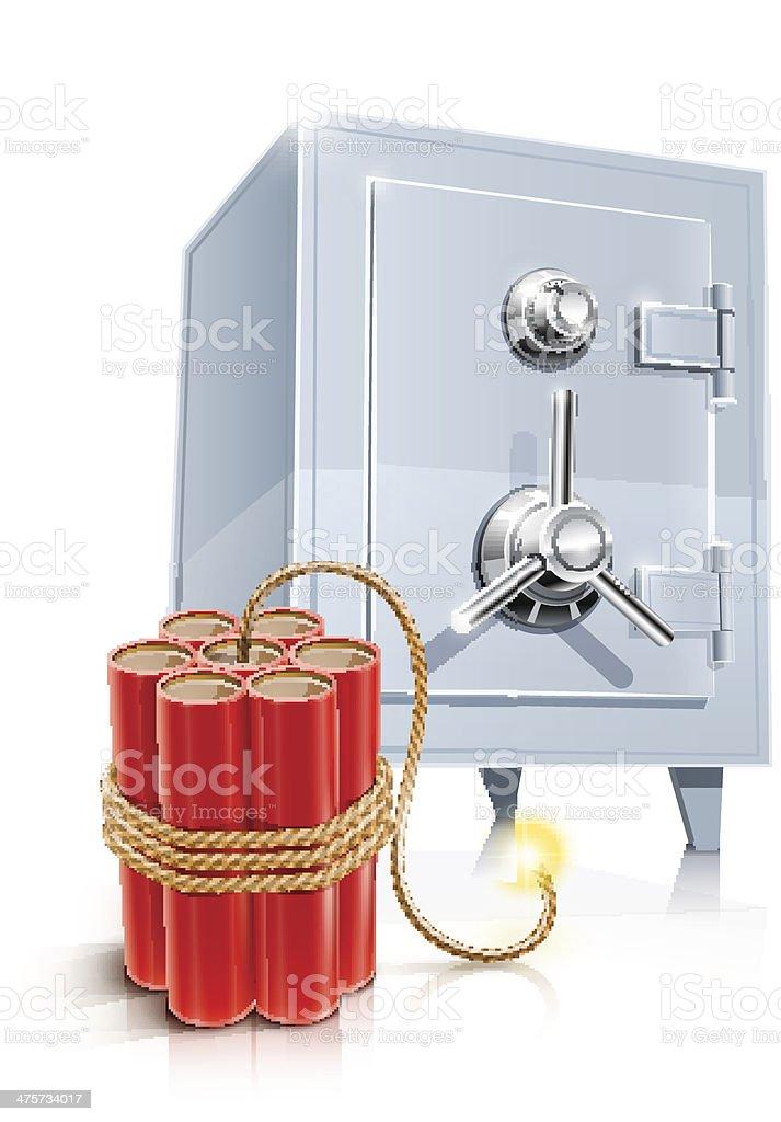 close metallic safe with bomb royalty-free stock vector art