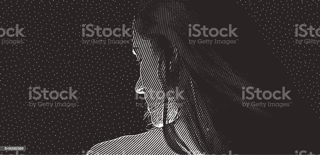 Close of of women's face and starry night vector art illustration