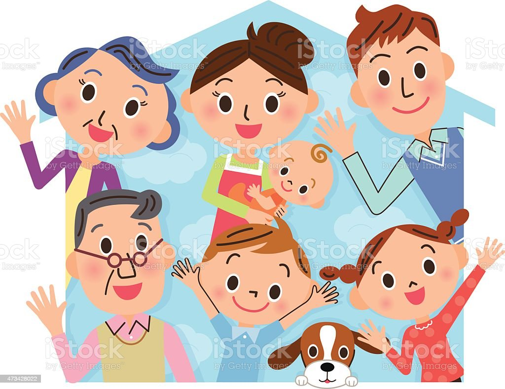Close three-generation family and house vector art illustration
