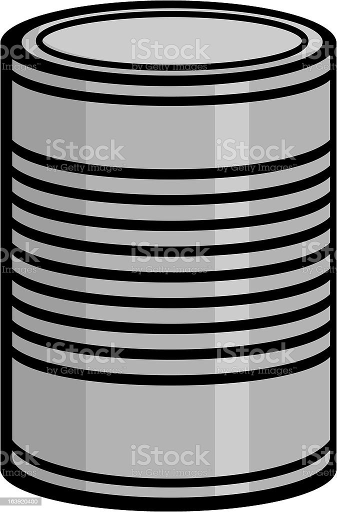 Close up drawing of an unlabeled tin can  vector art illustration