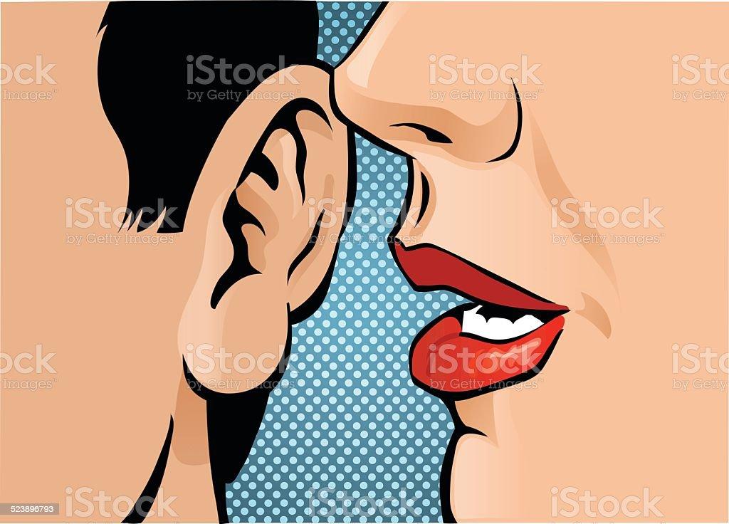 Close Up Gossip vector art illustration