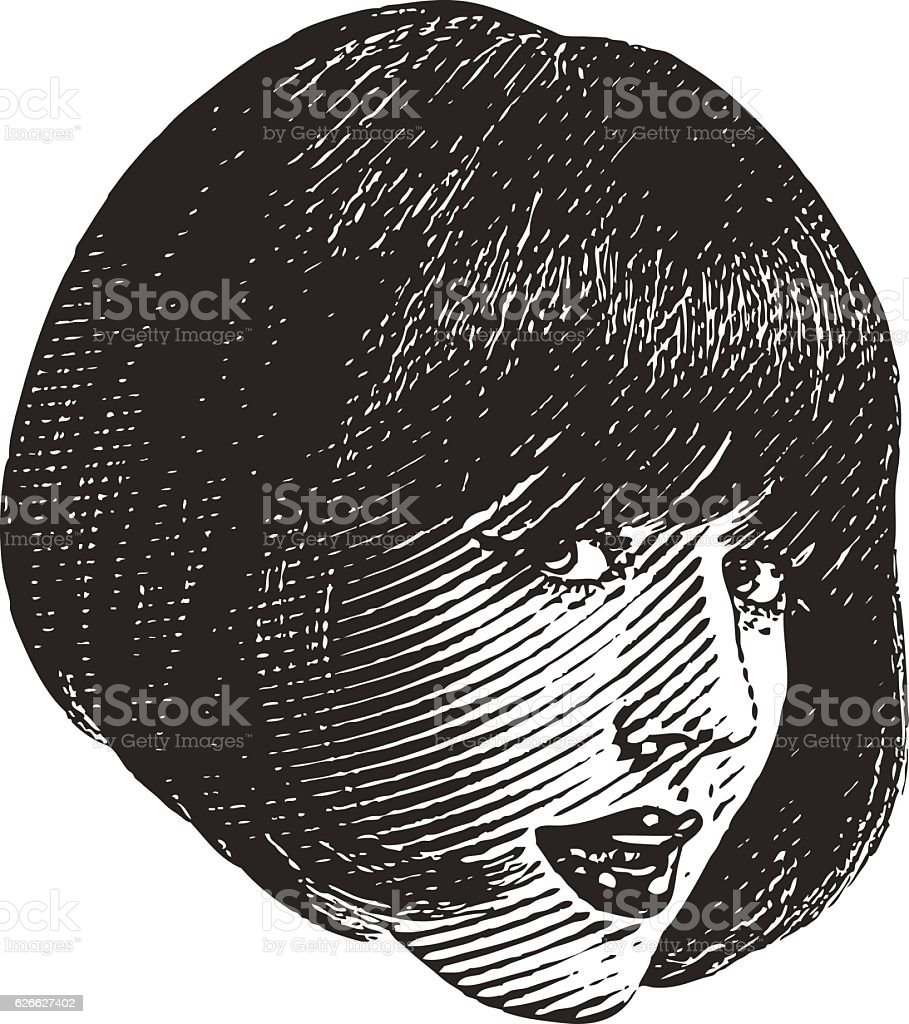 Close Up Illustration Of Woman's Face With Flirty Expression stock photo