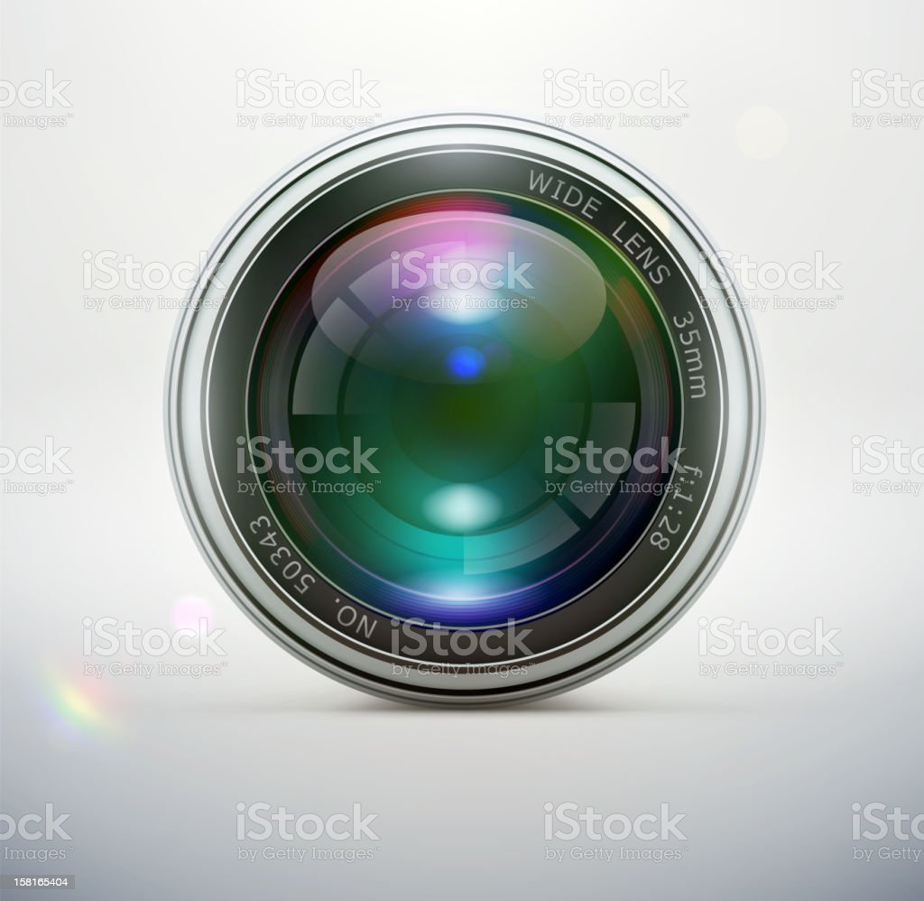 Close up of 35mm wide camera lens on white background vector art illustration