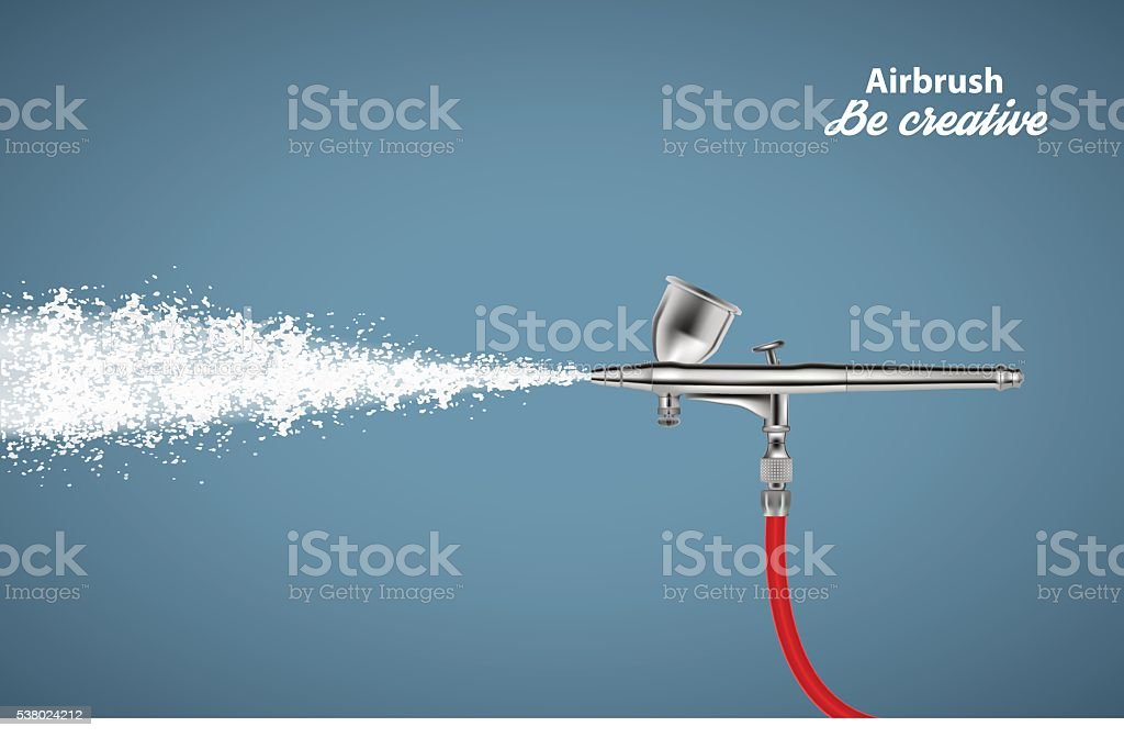 Close up of a airbrush paint sprayer isolated on blue vector art illustration
