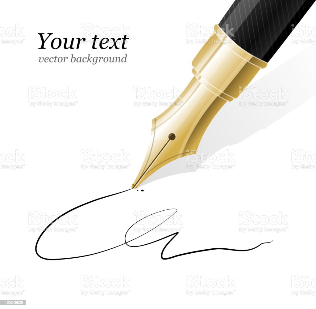 Close up of a fountain pen vector art illustration