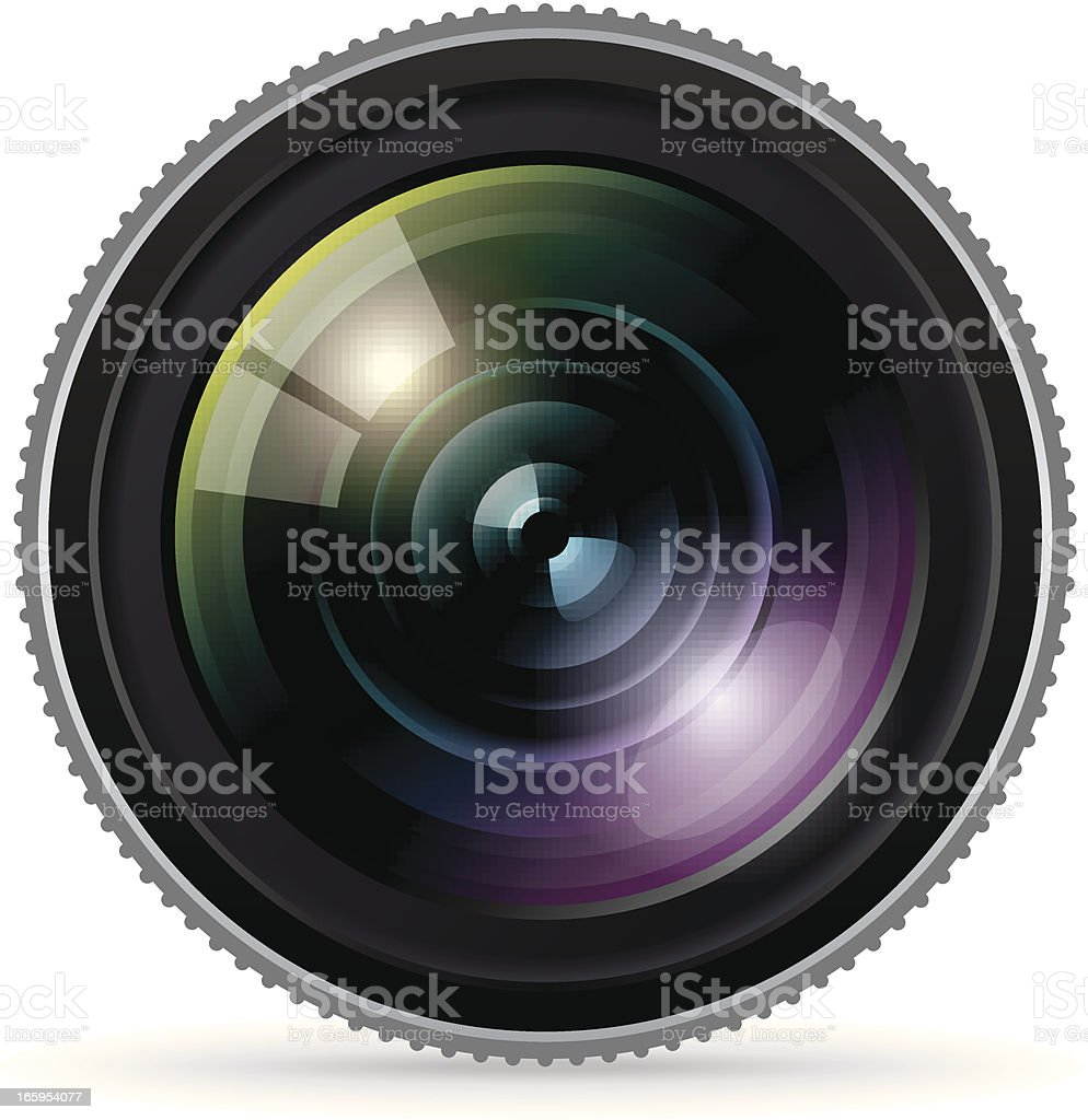 Close up of a large camera lens vector art illustration