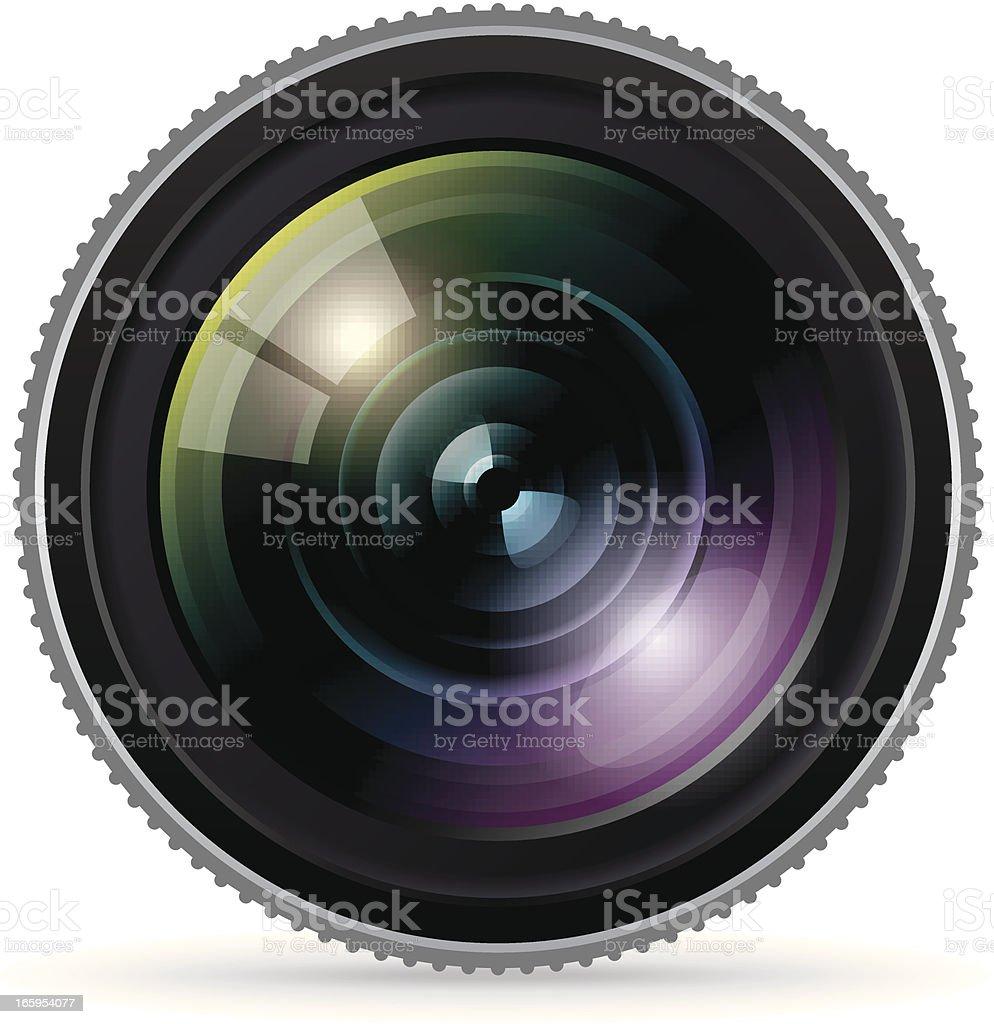 Close up of a large camera lens vector art illustration