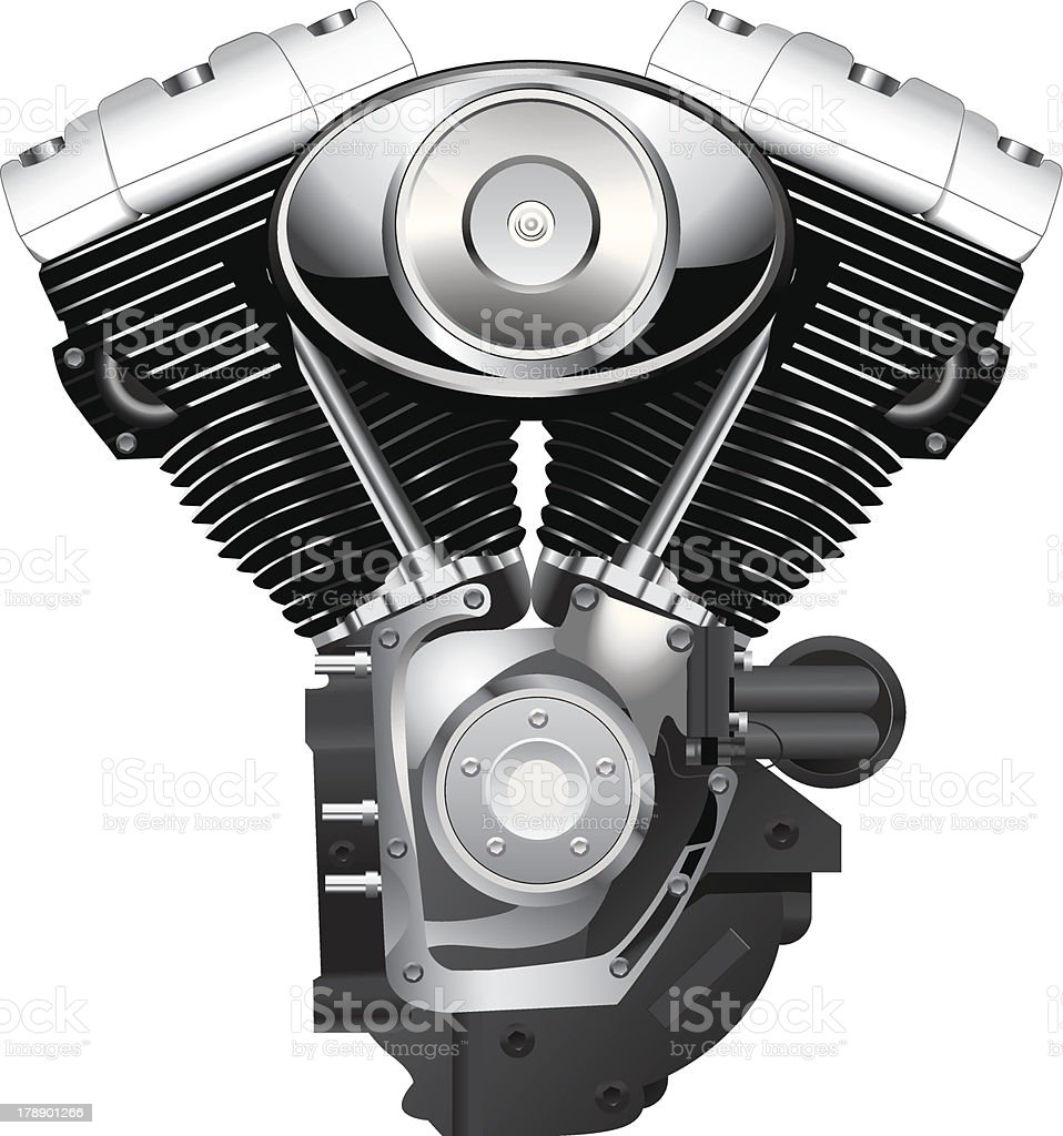 Close up of a motorcycle engine in a white background vector art illustration