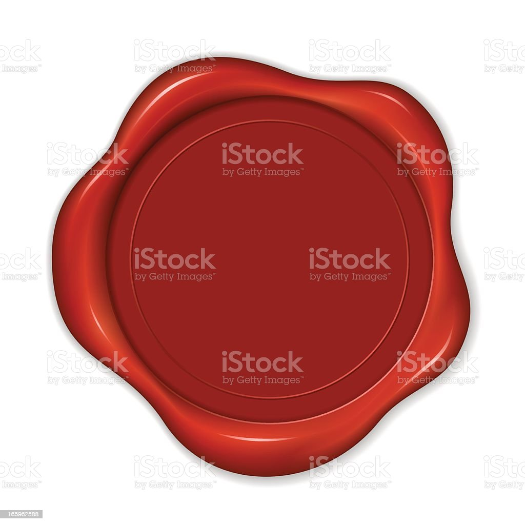 A close up of a red wax seal on a white background royalty-free stock vector art