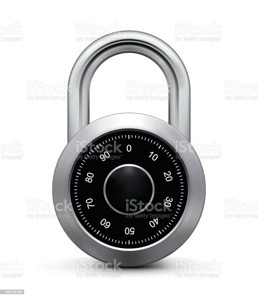 Close up of a silver and black combination padlock  vector art illustration