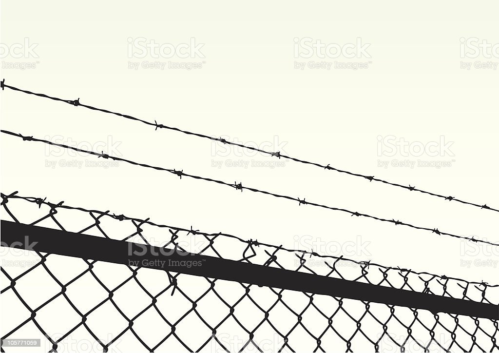 Close up of barbed wire at top of chain link fence vector art illustration