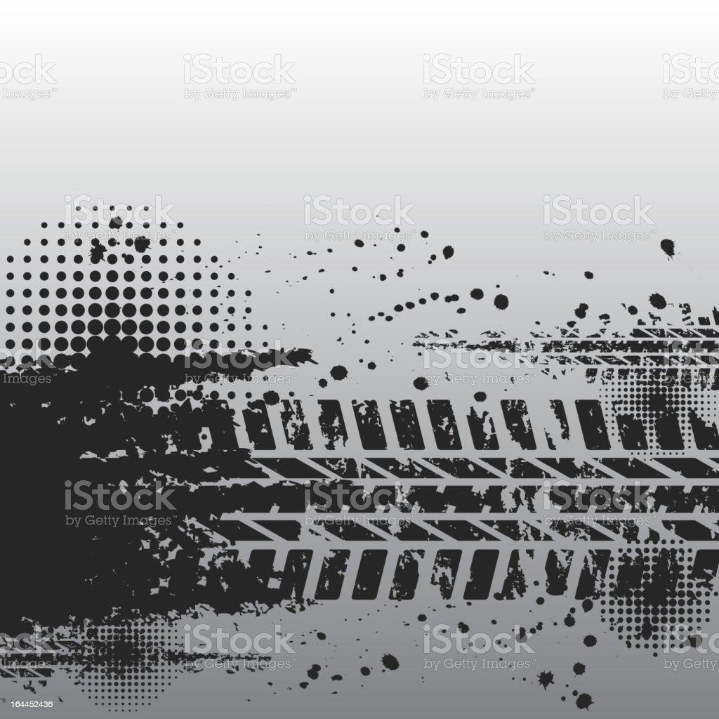 Close up of black tire track banner vector art illustration
