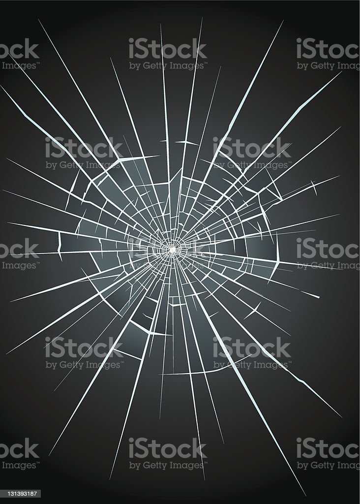 Close up of broken glass with spider web break royalty-free stock vector art