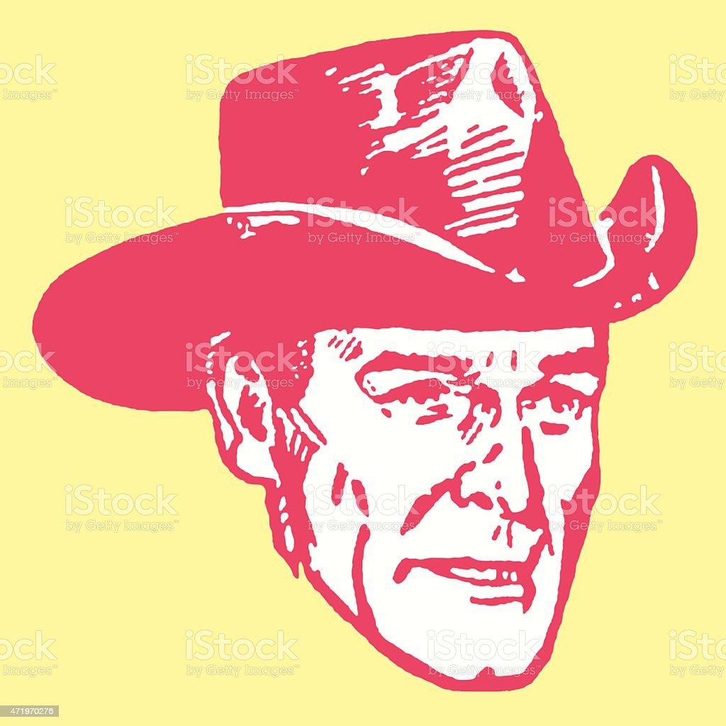 Close up of Cowboy in Hat vector art illustration