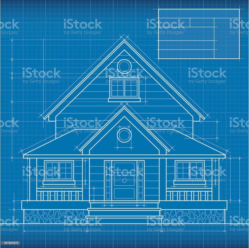 Close up of digitally engineered house blueprint vector art illustration