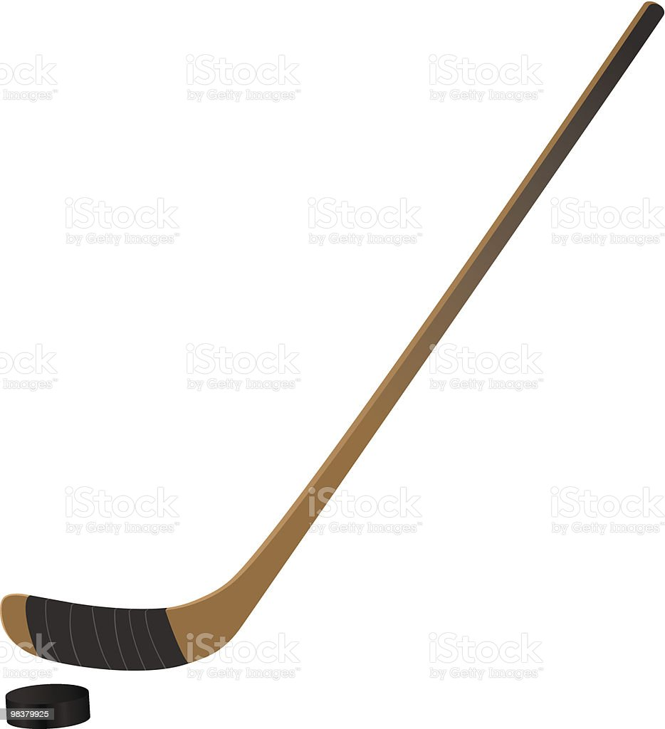 Close up of ice hockey stick and puck on white background vector art illustration