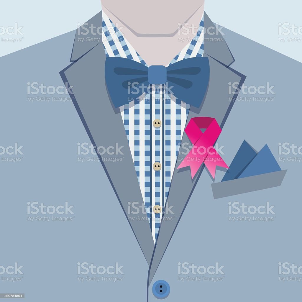 Close up of pinned pink ribbon on male suit collar vector art illustration