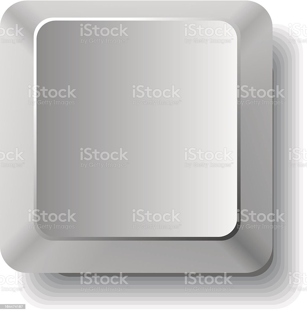 Close up of single blank computer key vector art illustration
