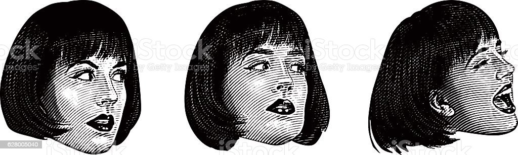 Close Up Of Woman's Head Making Expressions vector art illustration