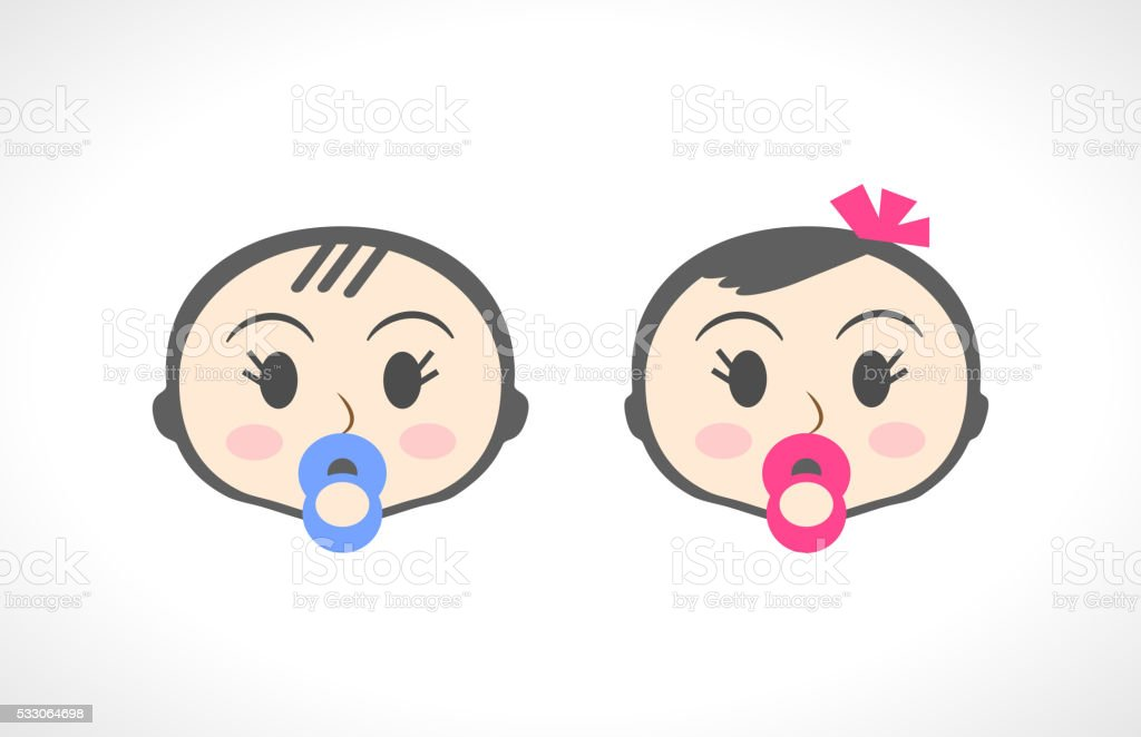 Close up portrait of little baby, child, kid, girl and vector art illustration