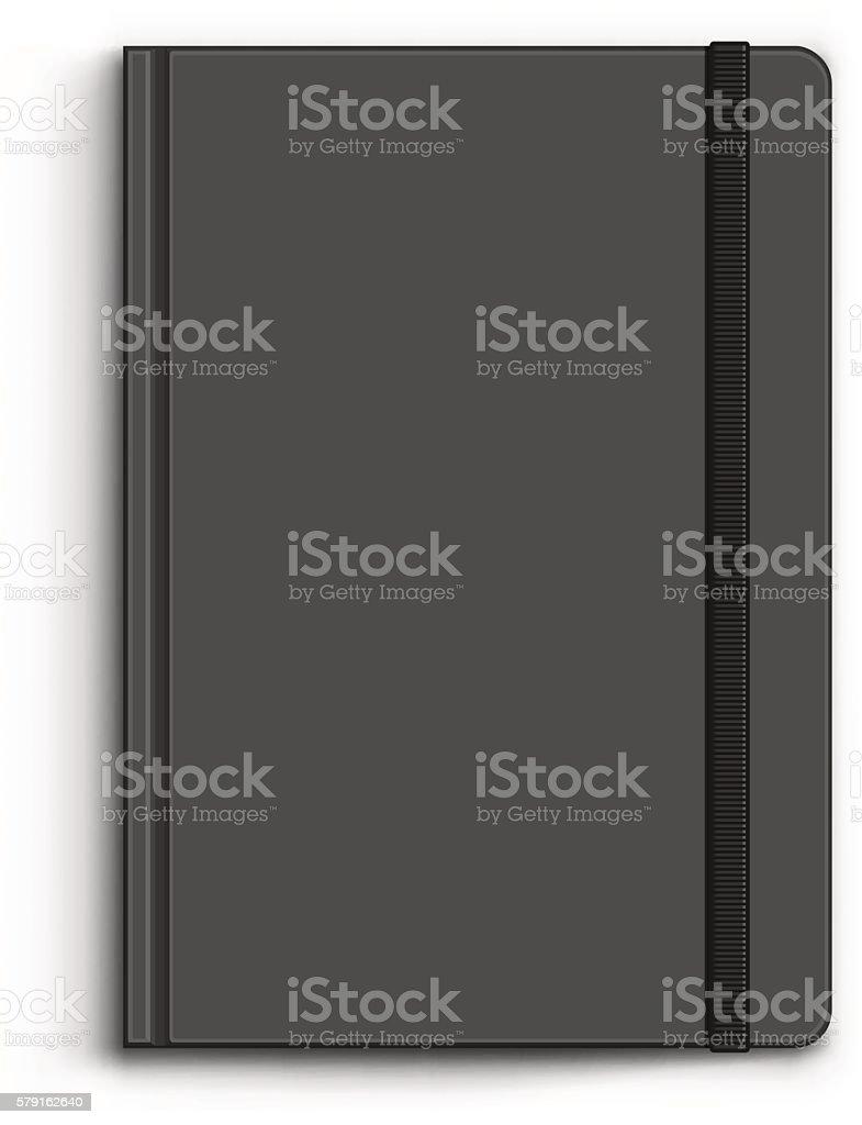 Closed Black Notebook vector art illustration