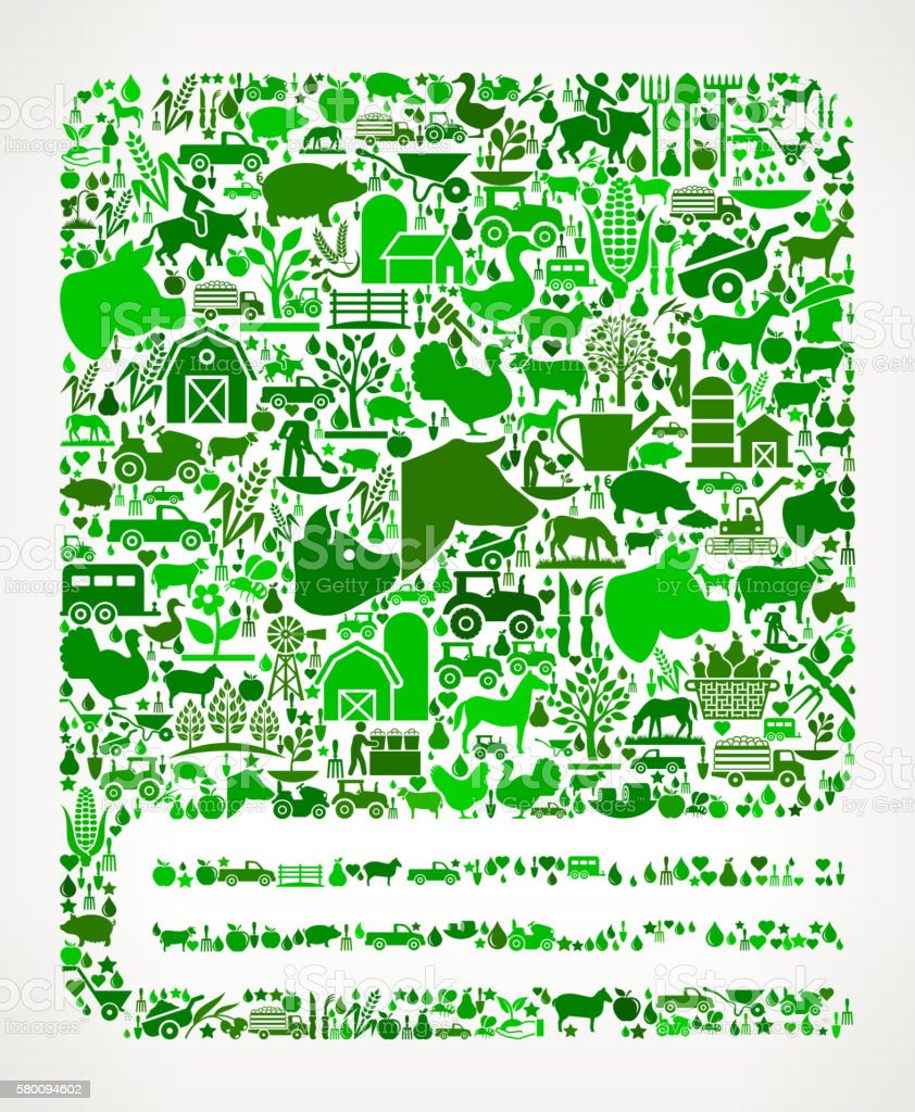 Closed Book Farming and Agriculture Green Icon Pattern vector art illustration