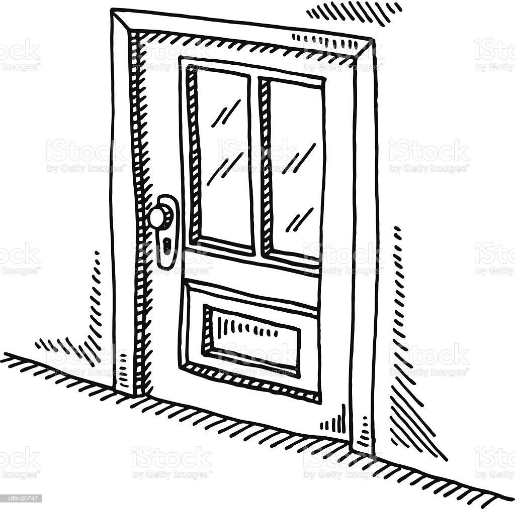 Dessin porte ferm e stock vecteur libres de droits for Porte wc dessin